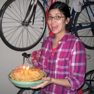 """Katie Wibking with a """"birthday pie"""" for her husband."""
