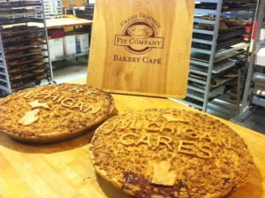 Theses pies from Grand Traverse Pie Co. will help feed the volunteers during the Belle Isle Cleanup event.