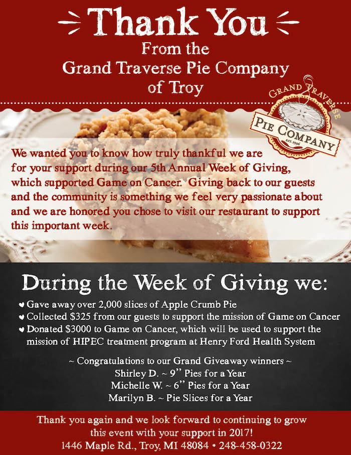 Annual Week of Giving Thank You Flyer
